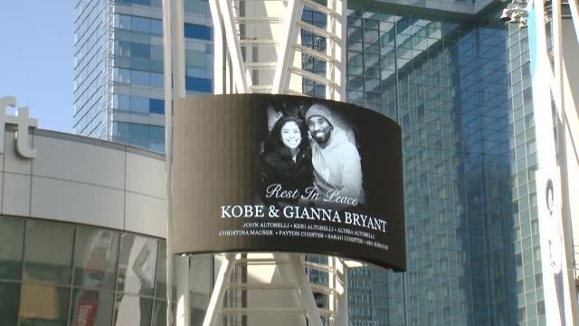 atmosphere crowds gather outside staples center for kobe bryant memorial at staples center on january 27 2020 in los angeles california - staples center stock videos & royalty-free footage