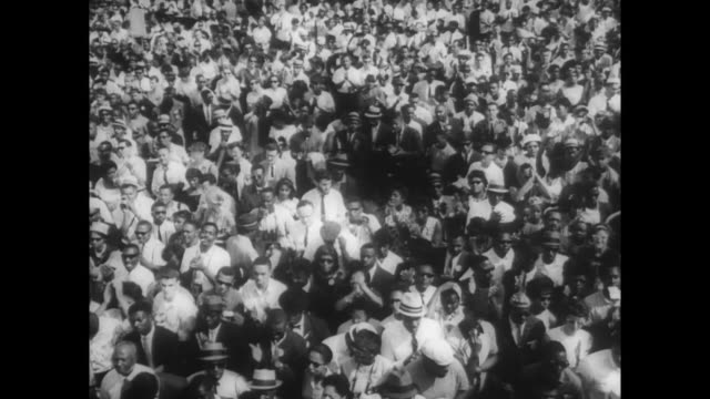 crowds gather to listen to mlk give his 'i have a dream' speech - martin luther king stock videos and b-roll footage