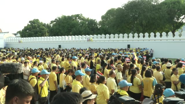 crowds gather to see maha vajiralongkorn bodindradebayavarangkun the new king of thailand make and appearance with the queen - king of thailand stock videos and b-roll footage