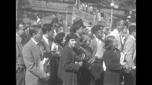 crowds gathered to greet eisnhower during a whistle stop speech in portland oregon - 1952 stock videos & royalty-free footage