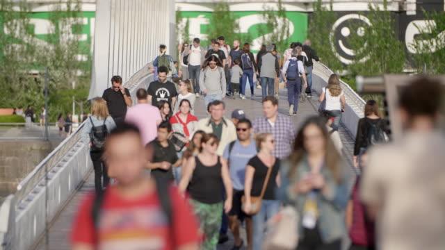 crowds in buenos aires - puente de la mujer stock videos & royalty-free footage
