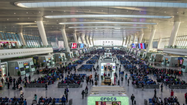 t/l ws 4k crowds in east hangzhou railway station / hangzhou, china - china east asia stock videos and b-roll footage