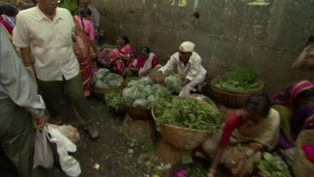 MS POV Crowds in farmer's market, Mumbai, Maharashtra, India