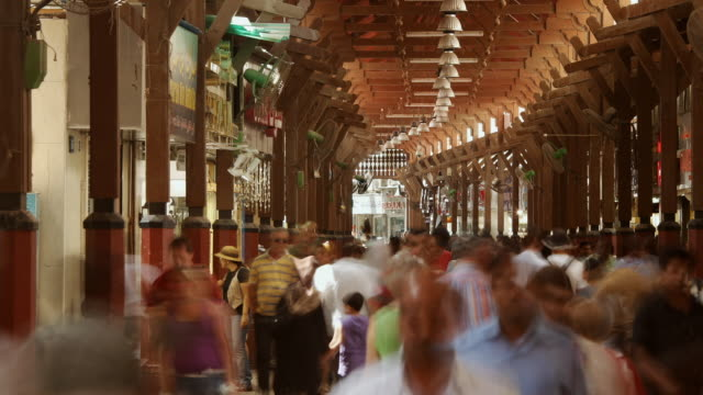 t/l ms crowds in gold souk / dubai, united arab emirates - souk stock videos & royalty-free footage