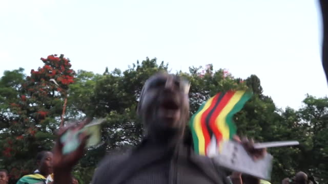 crowds in harare celebrating the resignation of zimbabwe president robert mugabe - harare stock videos and b-roll footage