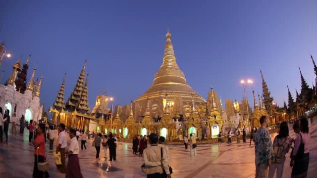 WS Crowds in temple courtyard / Rangoon, Yangon, Myanmar