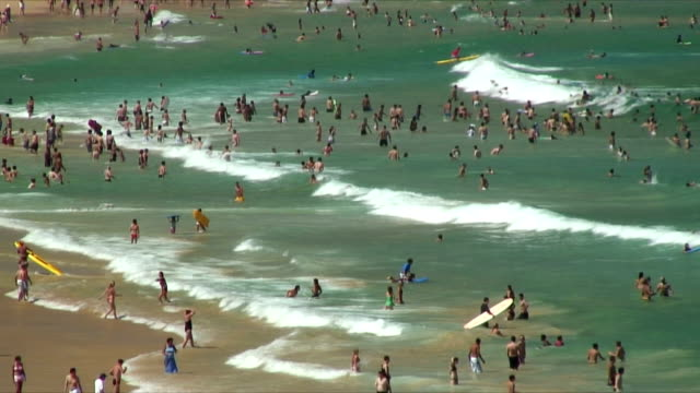 ws ha crowds in water at bondi beach / bondi beach, australia - tourist stock videos & royalty-free footage