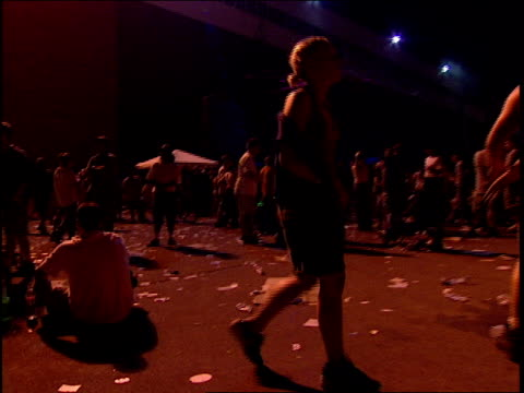 Crowds leaving a rave during Woodstock 99 in Rome New York