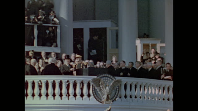 crowds line the streets and grounds around the capitol building on the day of president roosevelt's third inauguration - 1941 stock videos & royalty-free footage