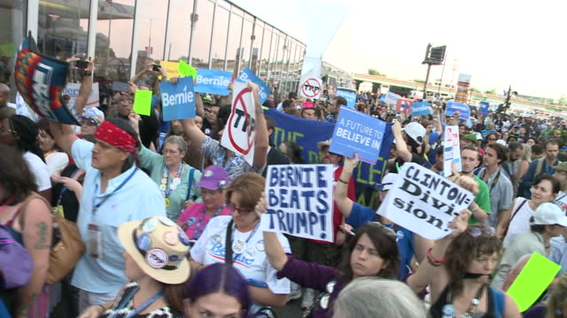 Crowds of Bernie Sanders Supporters Enter DNC Democratic National Convention 2016 at Wells Fargo Center on July 26 2016 in Philadelphia Pennsylvania
