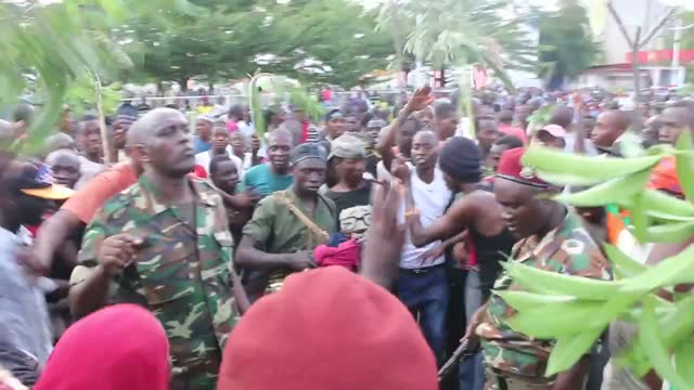 crowds of burundians celebrated the military coup in downtown bujumbura on wednesday, may 13, after major general godefroid niyombare... - https stock videos & royalty-free footage