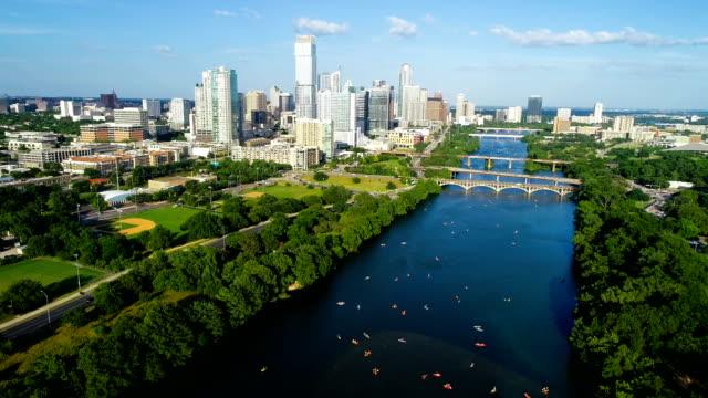 crowds of kayakers on town lake austin texas 2019 - austin texas stock videos & royalty-free footage