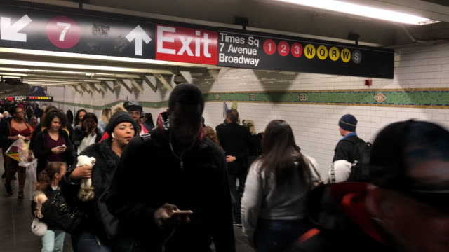 crowds of passengers walking at the subway station, new york city - new york city subway stock videos & royalty-free footage