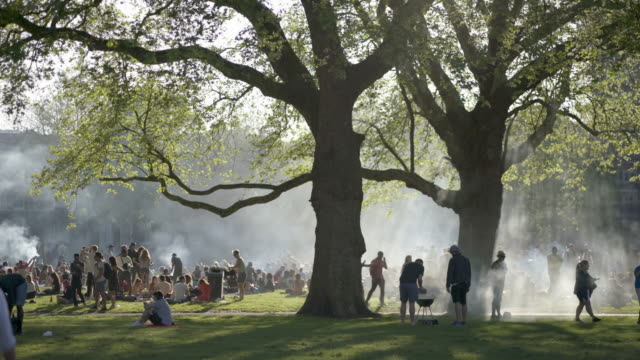 crowds of people gather at the london fields public park in spring. with sound. hackney, london,  uk. - traditional festival stock videos and b-roll footage