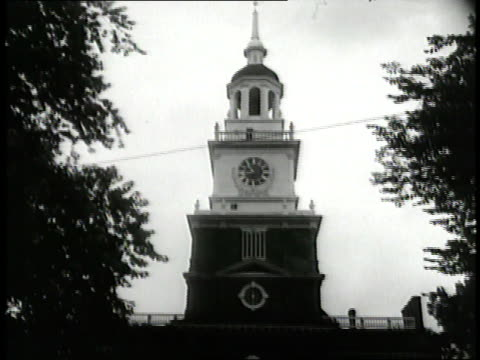 crowds of people gather outside independence hall in philadelphia pennsylvania - independence hall stock videos and b-roll footage