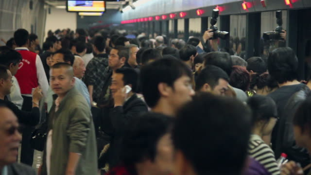 LS Crowds of people in subway station/xian,shaanxi,China
