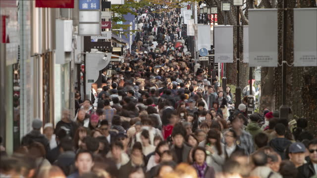 crowds of people on a shopping street in tokyo, japan - 40 seconds or greater stock videos & royalty-free footage