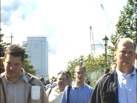crowds of people walking along the west side highway away from the collapsed world trade center towers smoke rising from ground zero area various... - 2001 stock videos & royalty-free footage