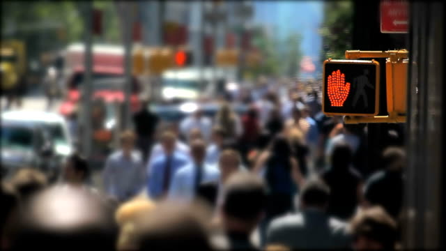 crowds of people walking in new york city - audio available stock videos & royalty-free footage