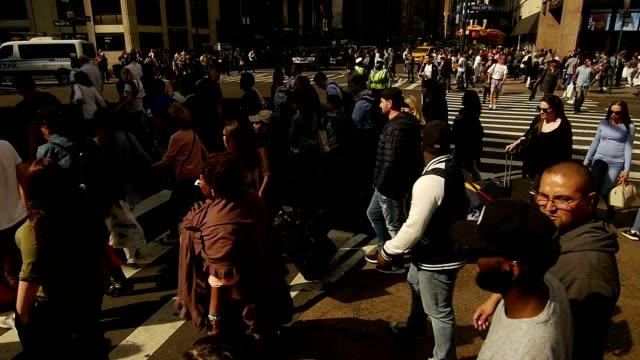 Crowds of People Walking on New York Manhattan Street