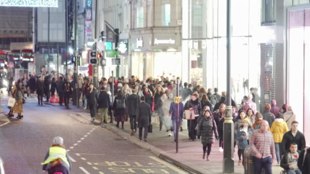 crowds of shoppers on oxford street, london, uk - central london video stock e b–roll