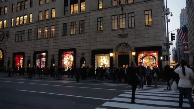crowds of shoppers walk past the window displays of bergdorf goodman on fifth avenue in new york city new york during the holiday shopping season on... - bergdorf goodman stock videos and b-roll footage