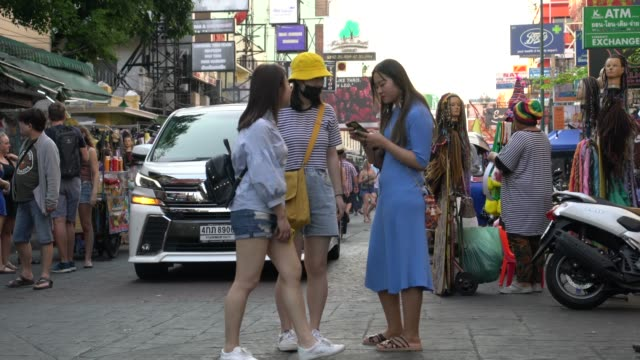 Crowds Of Tourists Looking For Fun At The The Khao San Road Area  In Bangkok, Thailand