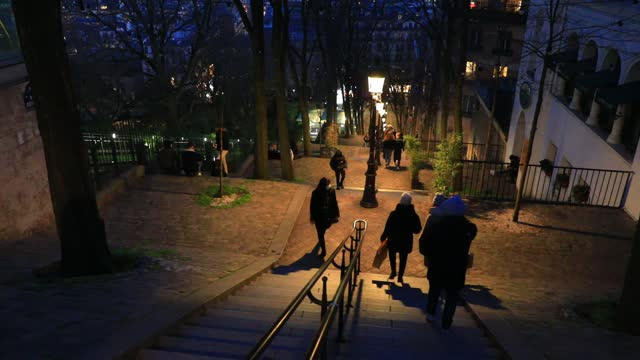 crowds of visitors walk on stairs of the montmartre district during the covid-19 health crisis on january 9, 2021 in paris, france. unlike the united... - atmosphere filter stock videos & royalty-free footage