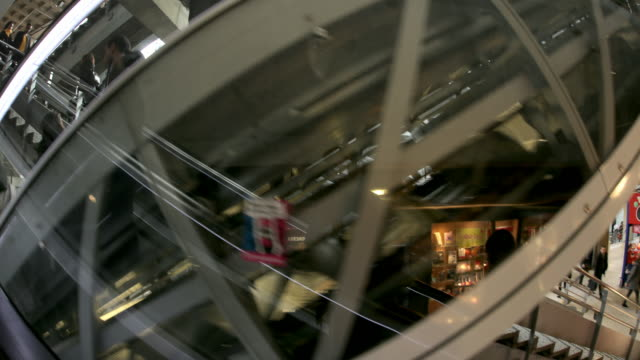 Crowds on escalators at Montparnasse Station