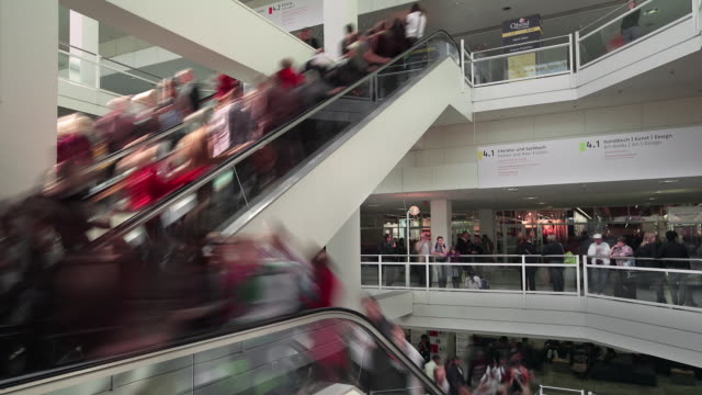 crowds on escalators - hesse germany stock videos and b-roll footage