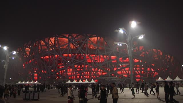 WS Crowds outside Beijing National Stadium / Beijing, China