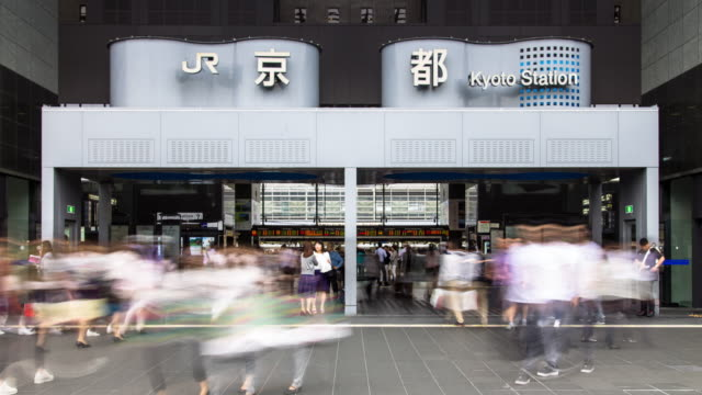 Crowds Outside Kyoto Station - Timelapse