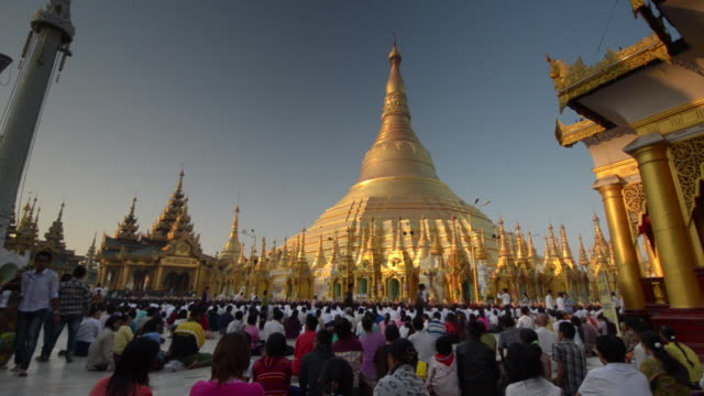 Crowds Seated at Shwedagon Pagoda, Yangon, Burma