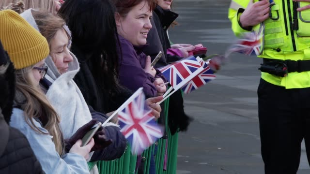 crowds wait to greet the duke and duchess of cambridge on a visit bradford city hall on january 15 2020 in bradford england - waiting stock videos & royalty-free footage