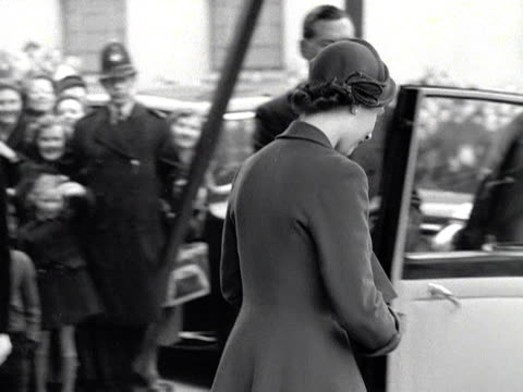 crowds wave as the queen and duke of edinburgh get back into their limousine and leave bbc broadcasting house 1953 - broadcasting stock videos and b-roll footage