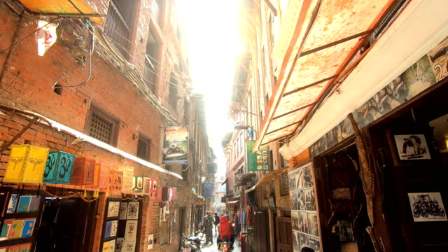 crowdy shopping street in thamel district of kathmandu, nepal - kathmandu stock videos & royalty-free footage