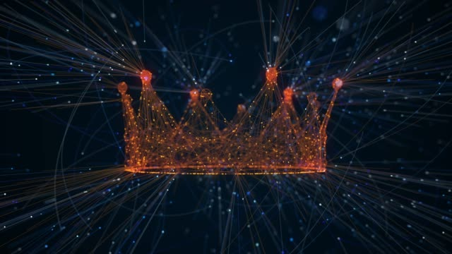 vídeos de stock e filmes b-roll de crown creation from particles - rei pessoa real