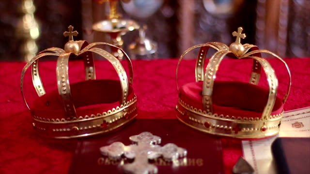 crown for a christian wedding - crown headwear stock videos and b-roll footage