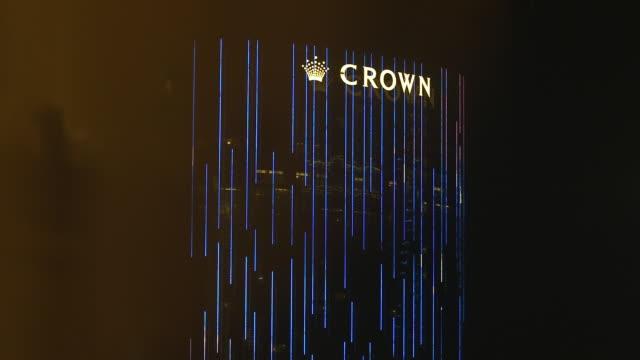 ms crown towers skyscraper dark sky bg - cotai strip stock videos and b-roll footage