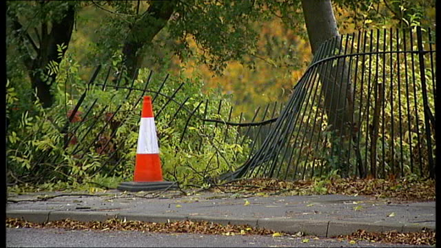 car and bus crash two people killed england surrey nr croydon west wickham corkscrew hill ext smashed park fence marked by bollards at site of... - corkscrew stock videos & royalty-free footage