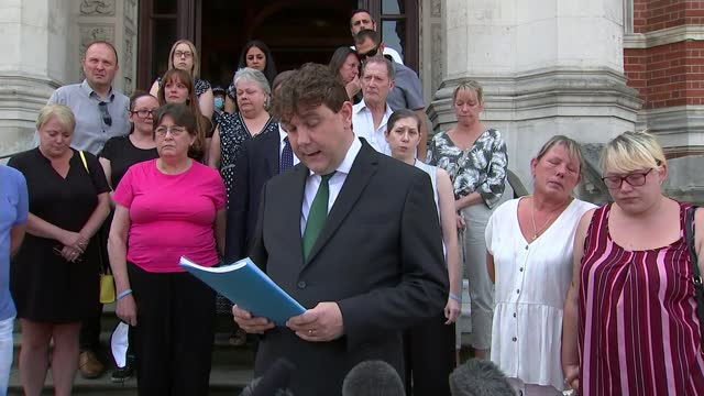 inquest rules crash deaths were 'accidental'; england: london: croydon: croydon town hall: ext ben posford press conference statement outside inquest... - misfortune stock videos & royalty-free footage
