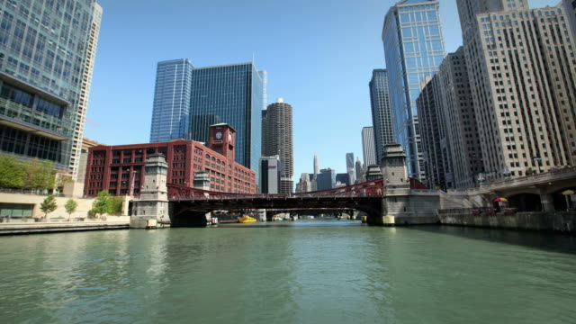 cruise down the chicago river - chicago river stock videos & royalty-free footage