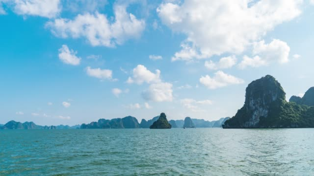 cruise in halong bay, vietnam, hyper time lapse video - halong bay stock videos and b-roll footage