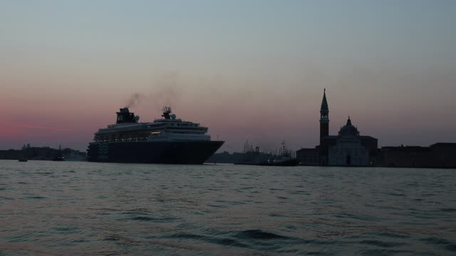 cruise liner crosses the lagoon of Venice