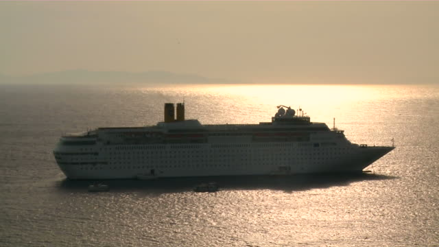 ms cruise moving in sea / myconos, cylades islands, greece - mykonos stock videos & royalty-free footage