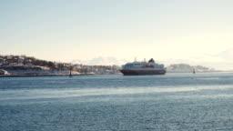 cruise service vessel Hurtigruten under the Finnsnes bridge, Troms