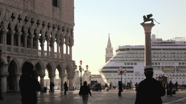 ms cruise ship floating by st marks square / venice, italy - venice italy stock videos & royalty-free footage