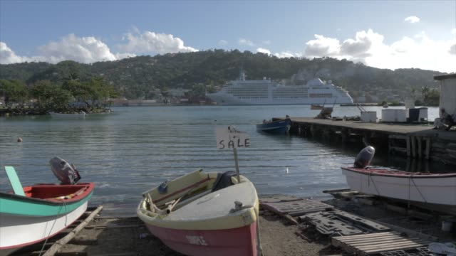 cruise ship from fish marketing corporation boat marina, castries, st. lucia, windward islands, west indies, caribbean, central america - st. lucia stock videos & royalty-free footage
