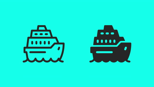 cruise ship icons - vector animate - cruise vacation stock videos & royalty-free footage