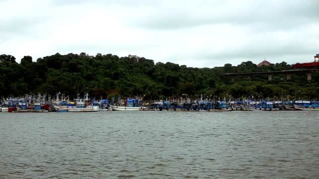 cruise ship in a row in mandovi river in panjim, goa - goa stock videos & royalty-free footage